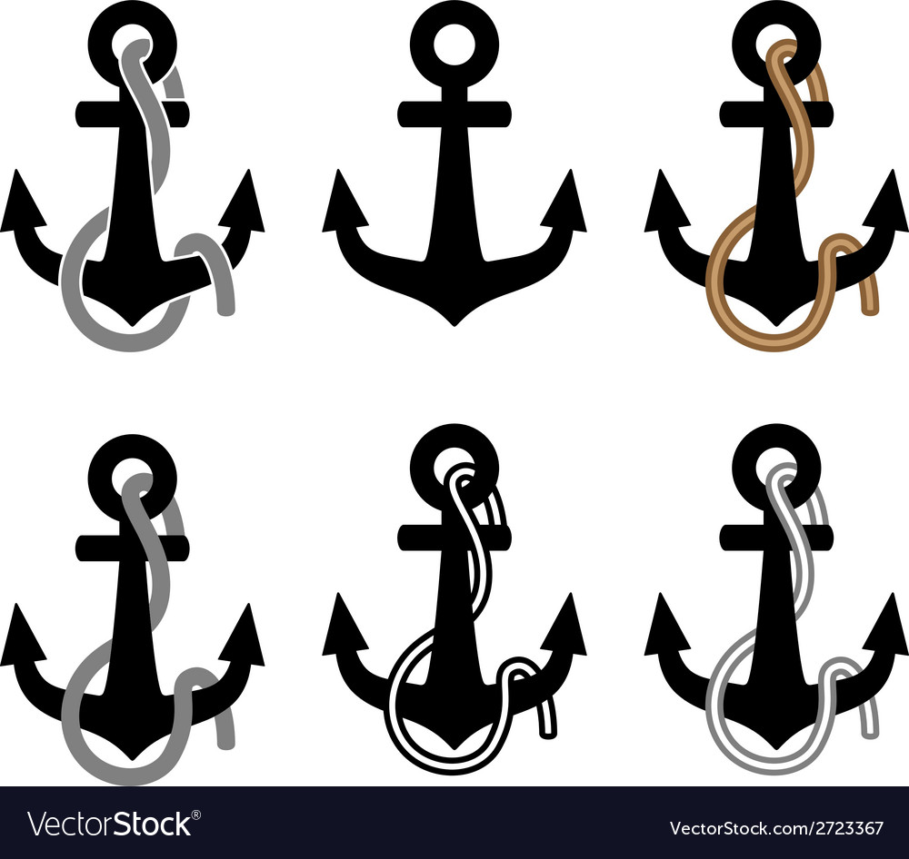 Anchor with rope black symbols vector | Price: 1 Credit (USD $1)