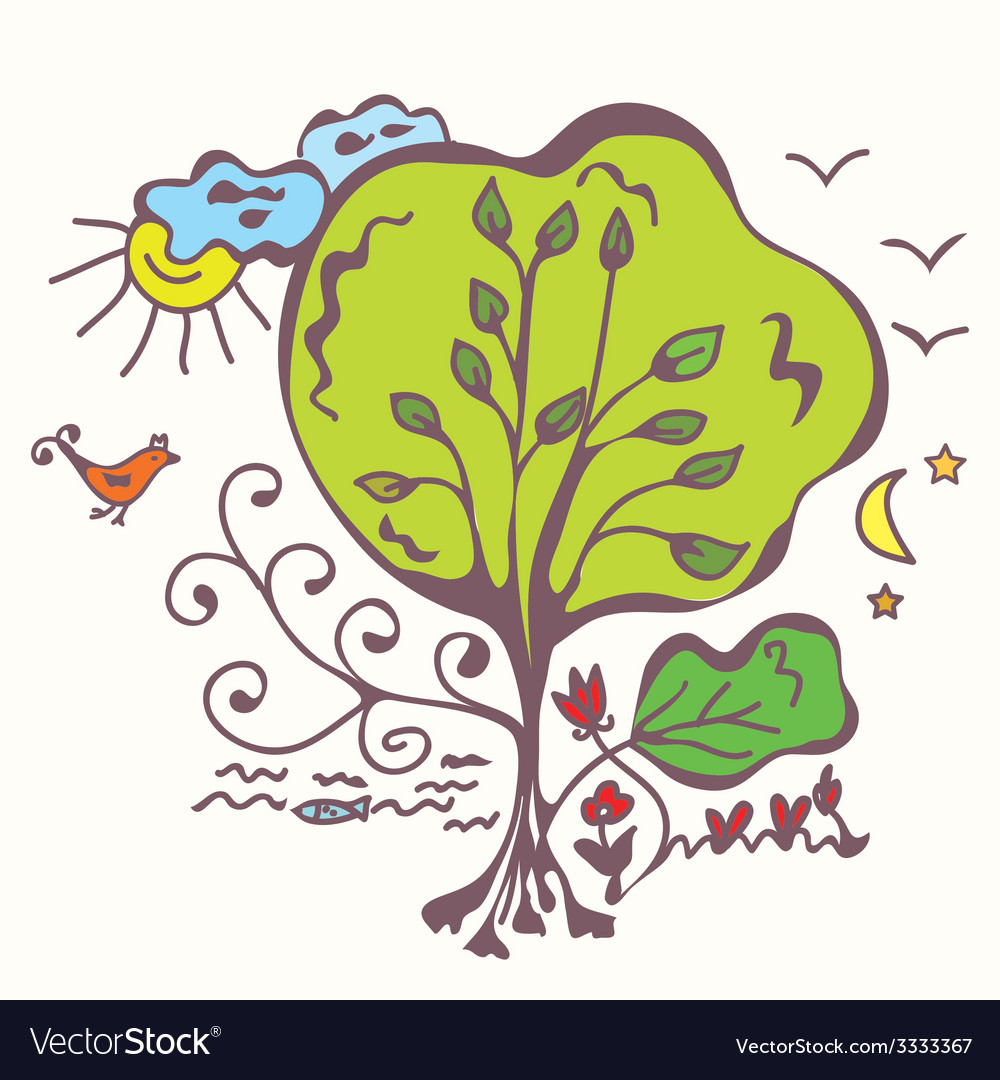 Ecologycal system with tree vector | Price: 1 Credit (USD $1)