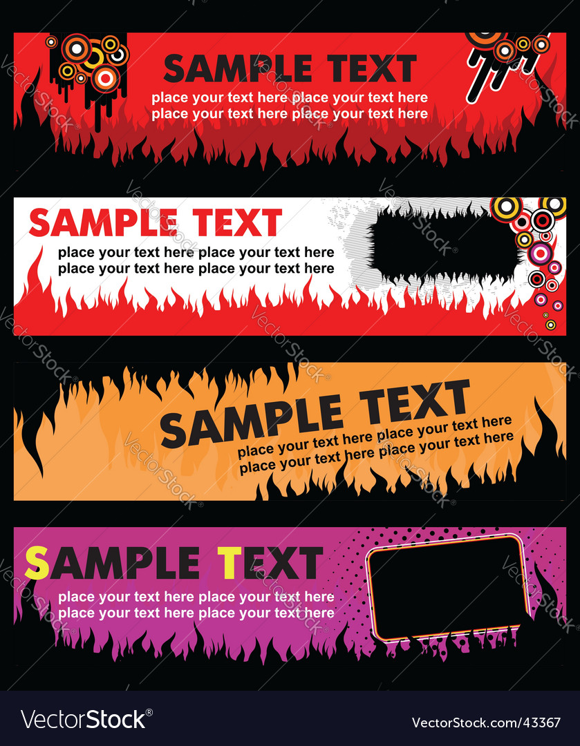 Flame banners vector | Price: 1 Credit (USD $1)