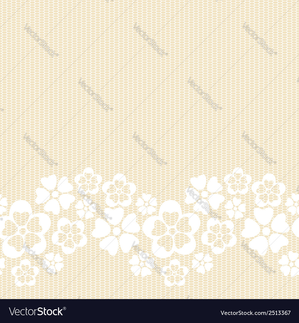 Horizontal white lacy flower border vector | Price: 1 Credit (USD $1)
