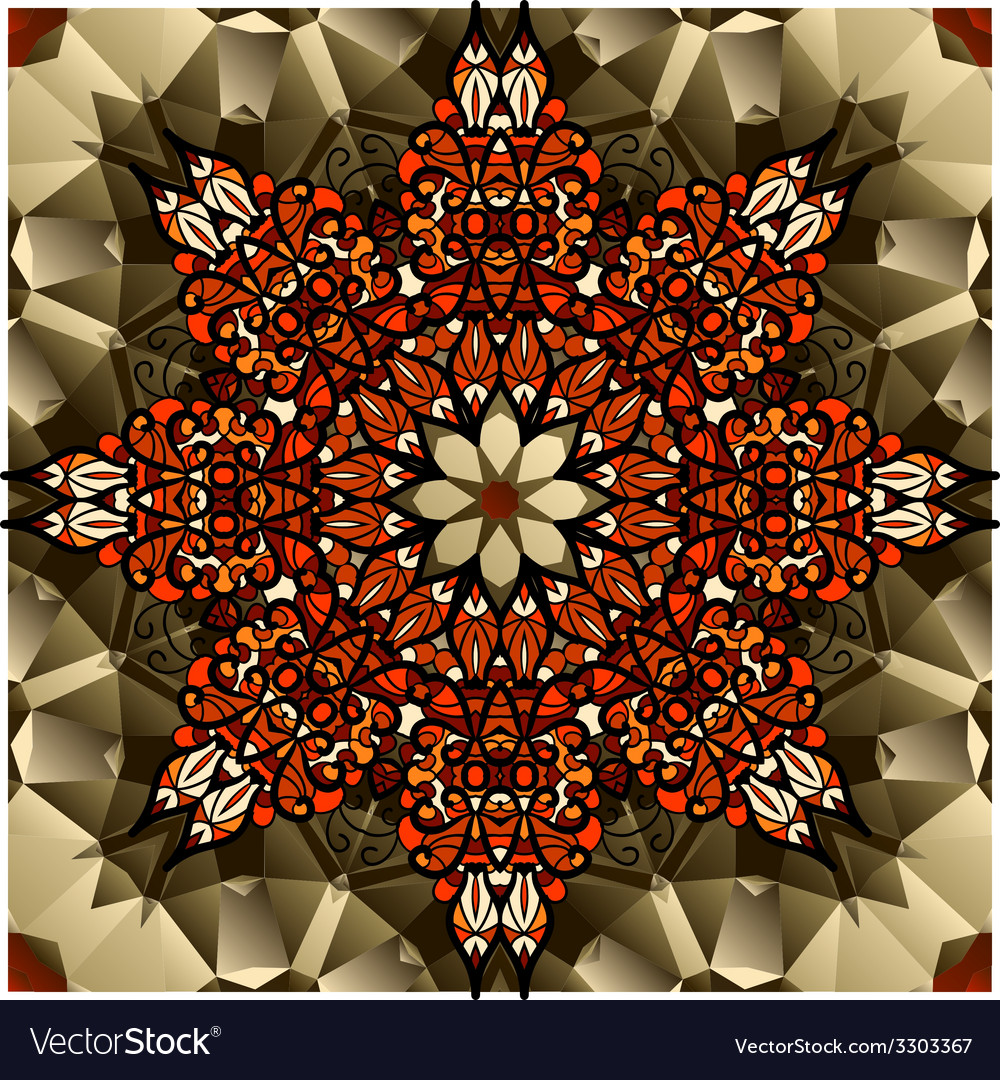 Kaleidoscope design mandala lotus flower symbol vector | Price: 1 Credit (USD $1)