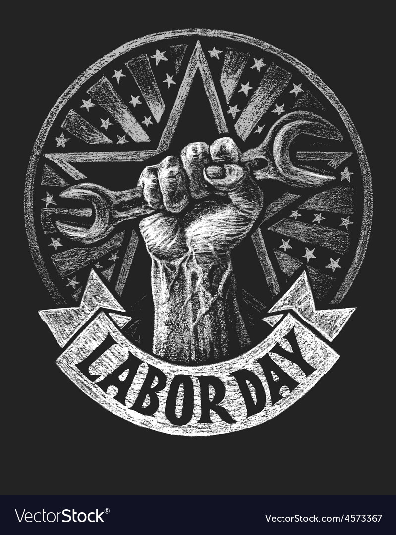 Labor day poster on the chalkboard vector | Price: 3 Credit (USD $3)