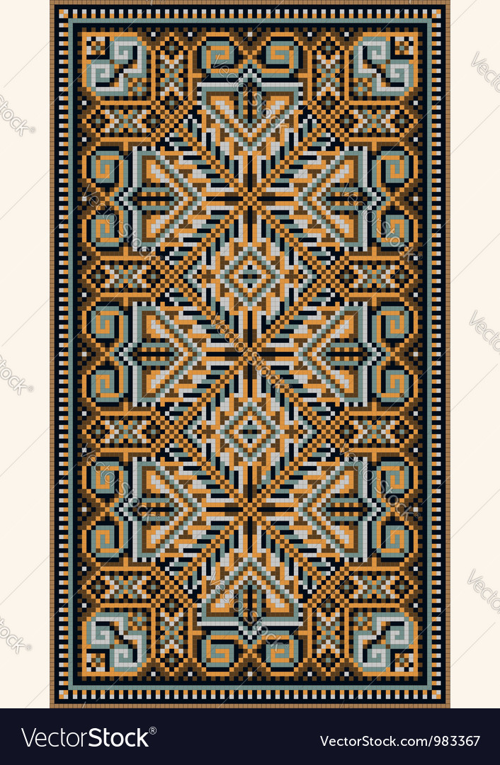 Oriental design in frame for carpet vector | Price: 1 Credit (USD $1)