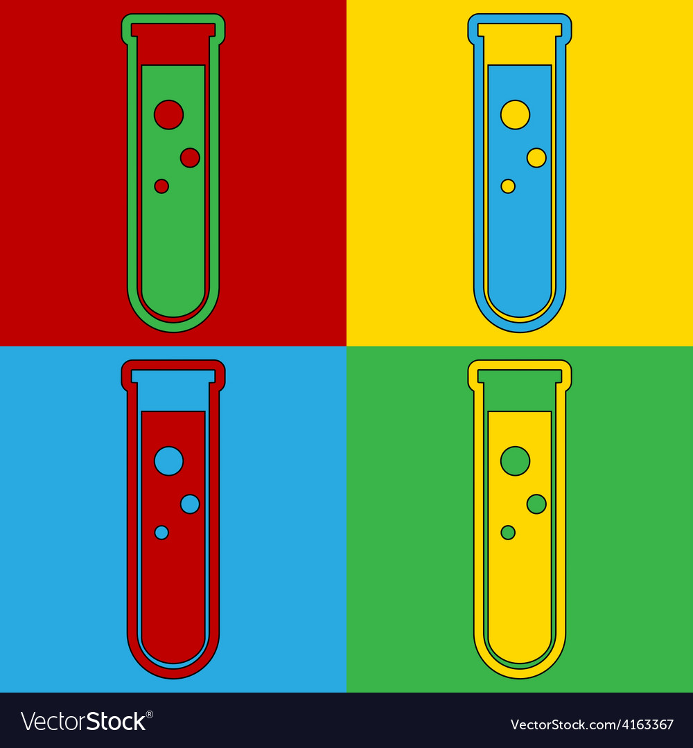 Pop art laboratory glass icons vector | Price: 1 Credit (USD $1)