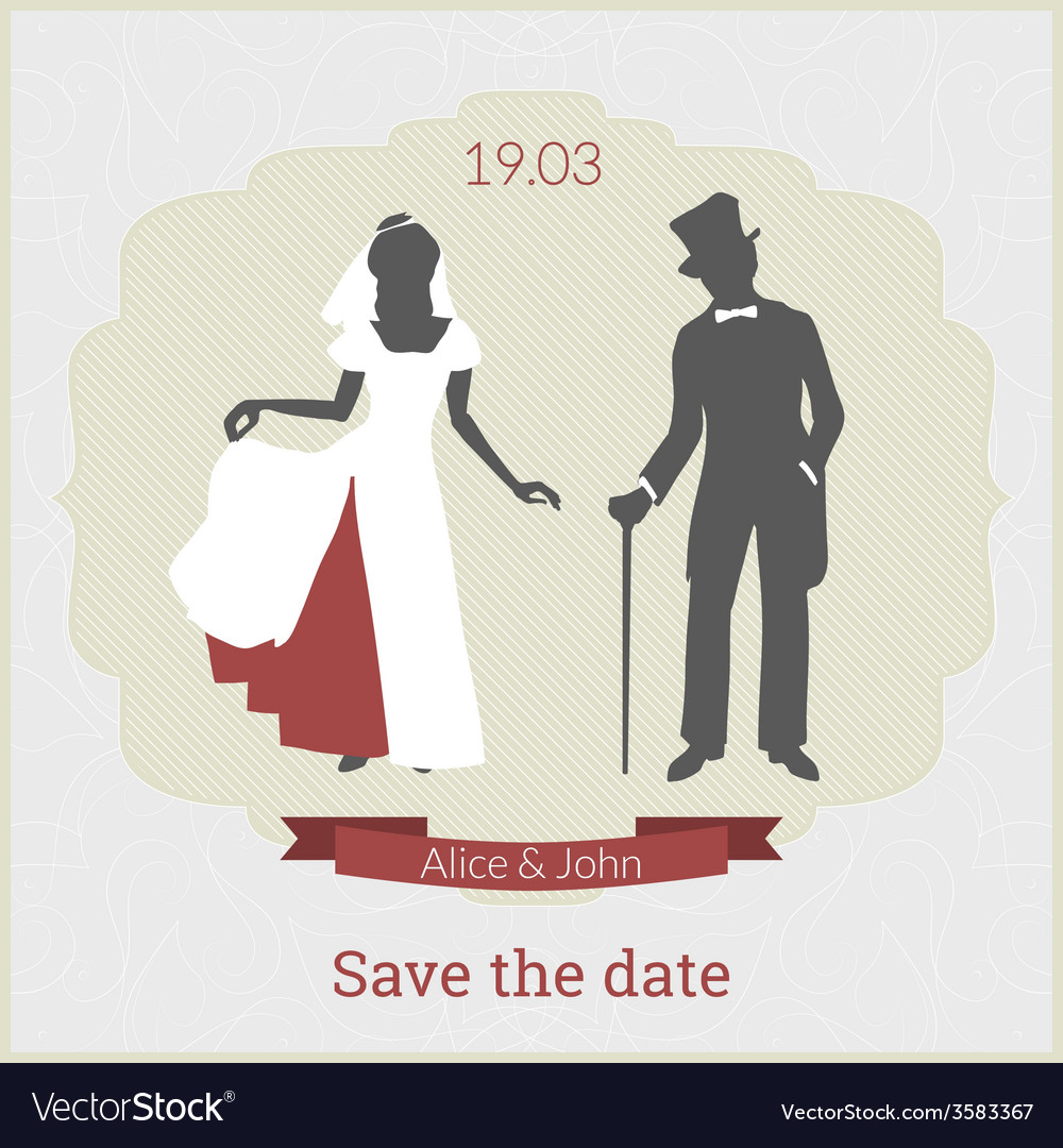 Save the date card template with bride and groom vector | Price: 1 Credit (USD $1)