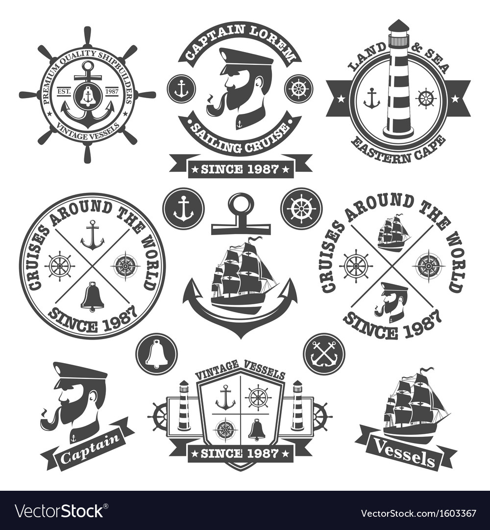 Set of vintage nautical labels and icons 2 vector | Price: 1 Credit (USD $1)