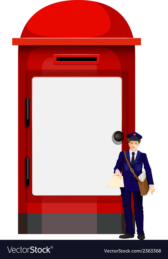 A mailman beside the big mailbox vector | Price: 1 Credit (USD $1)