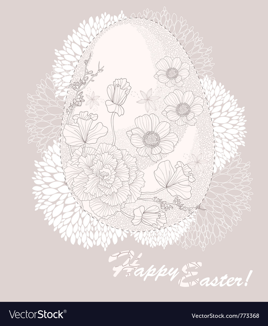 Easter egg easter card with floral pattern vector | Price: 1 Credit (USD $1)