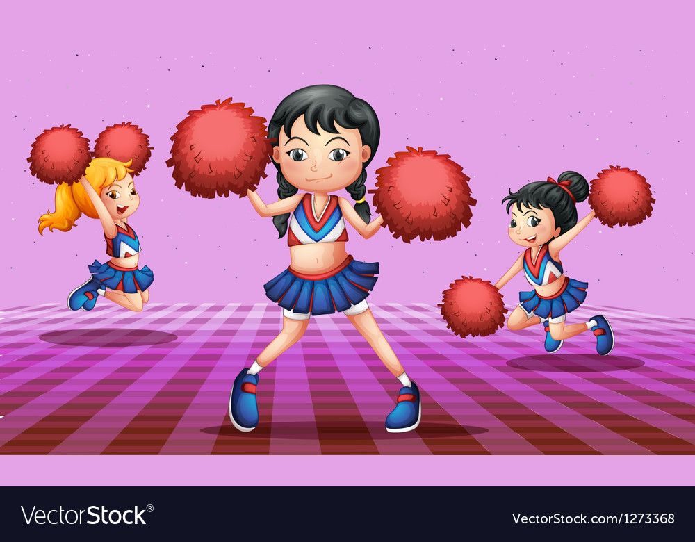 Energetic cheerdancers with red pompoms vector | Price: 1 Credit (USD $1)