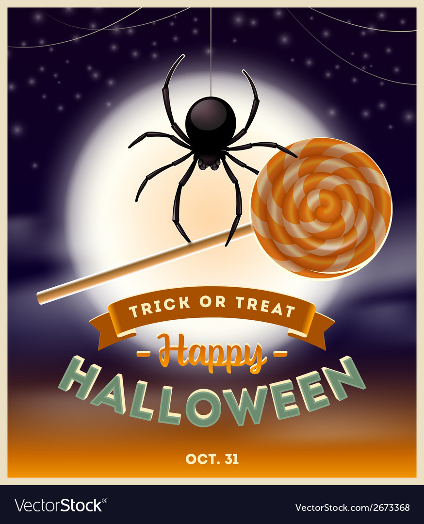 Halloween spider with lollipop candy and type vector | Price: 1 Credit (USD $1)
