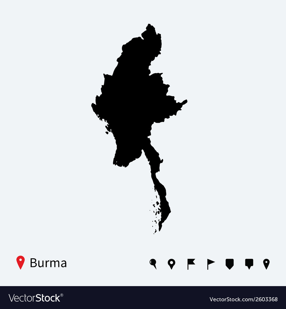 High detailed map of burma with navigation pins vector | Price: 1 Credit (USD $1)
