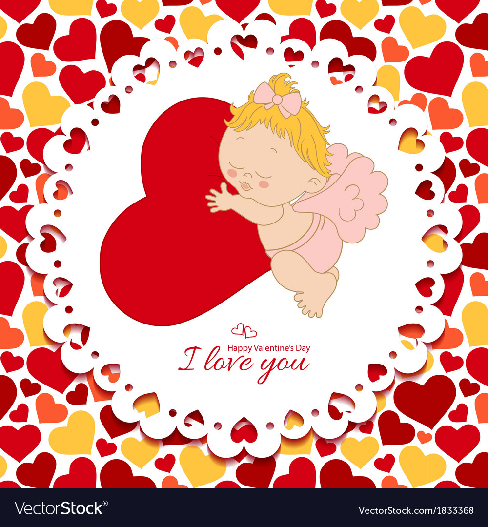 I love you card with cupid and hearts vector | Price: 1 Credit (USD $1)