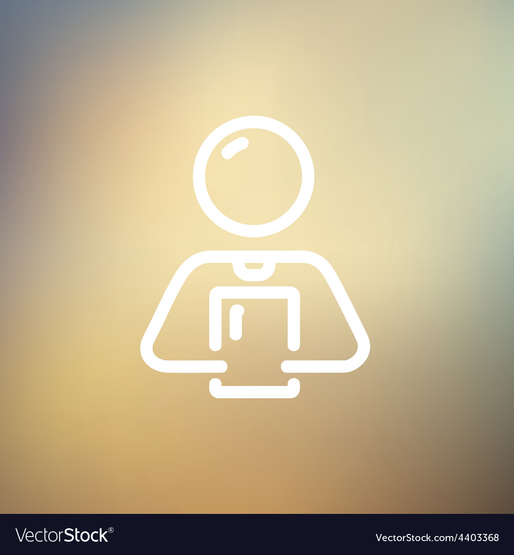 Man holding touch screen tablet thin line icon vector | Price: 1 Credit (USD $1)