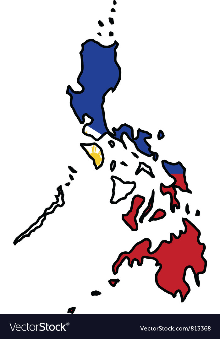 Map in colors of philippines vector | Price: 1 Credit (USD $1)