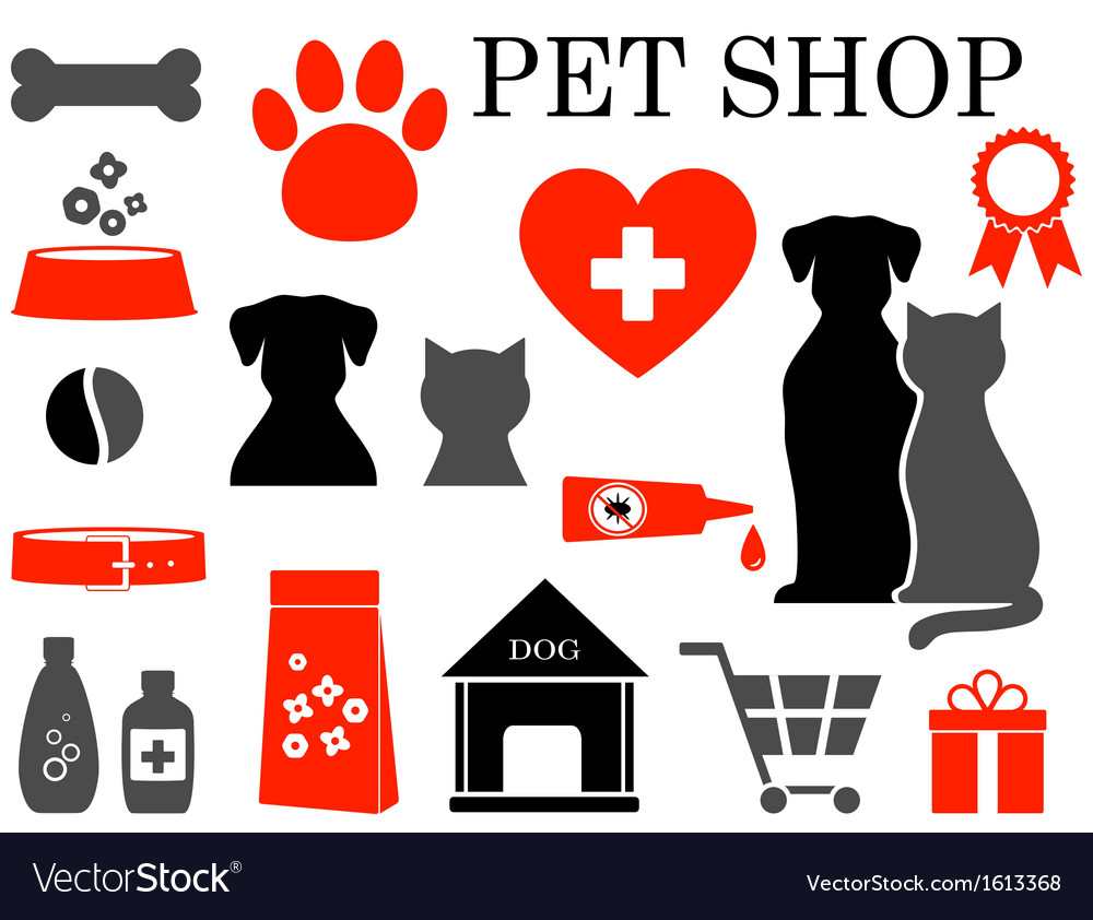 Set of pet icons vector