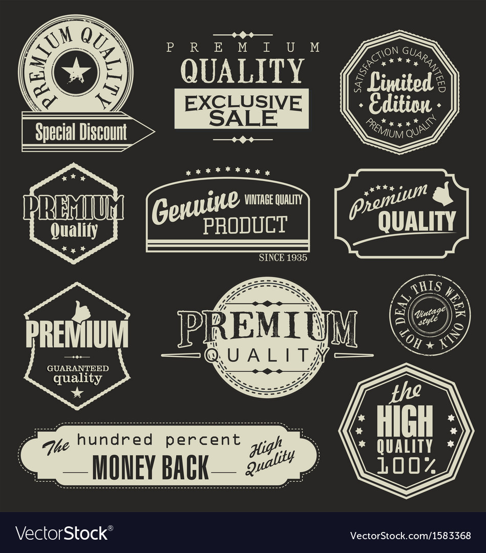 Set of retro vintage labels vector | Price: 1 Credit (USD $1)
