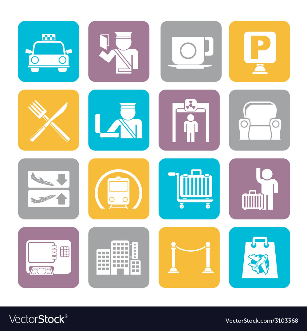 Silhouette airport and transportation icon vector   Price: 1 Credit (USD $1)
