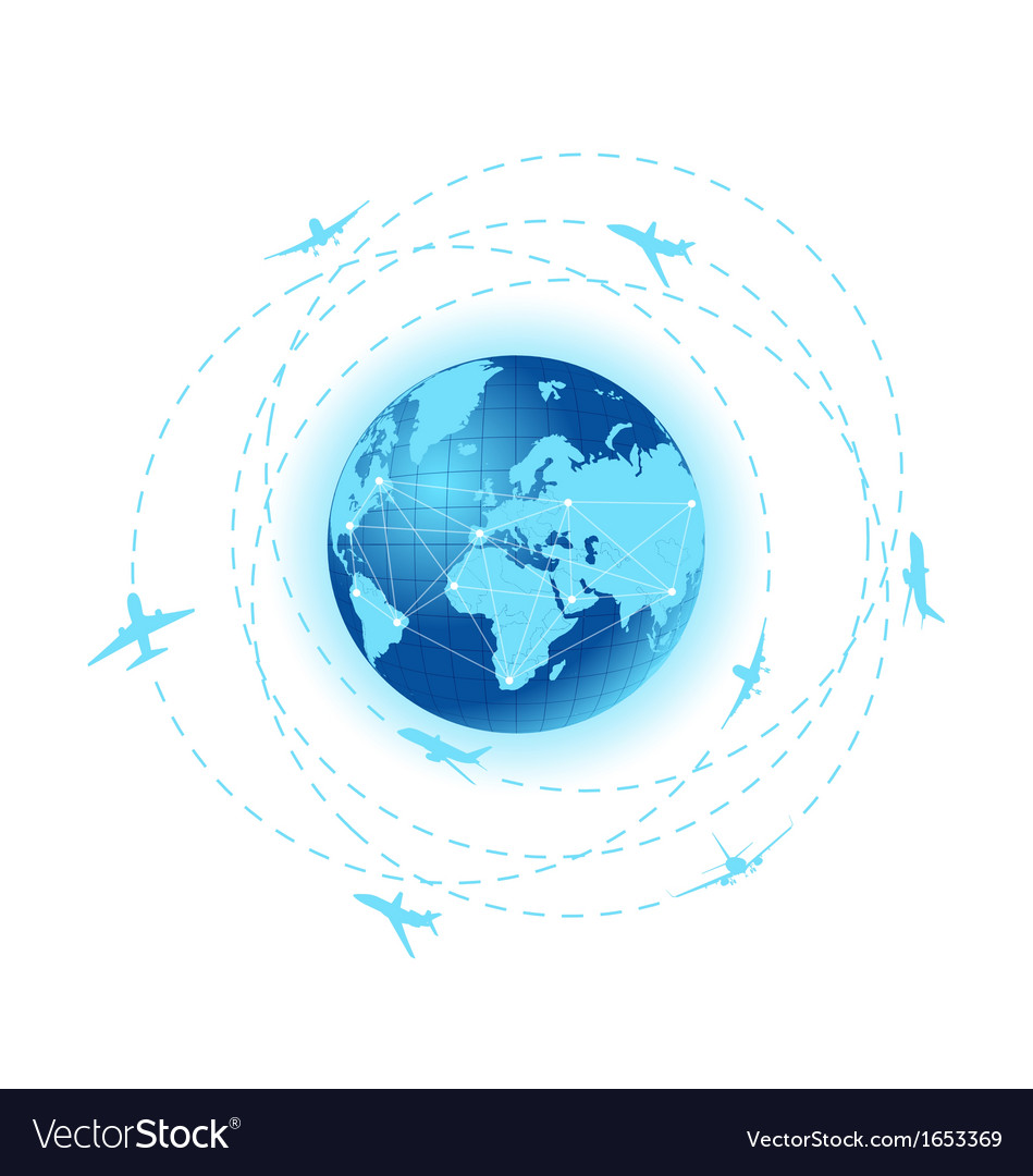 Airplane lines with planet earth vector | Price: 1 Credit (USD $1)