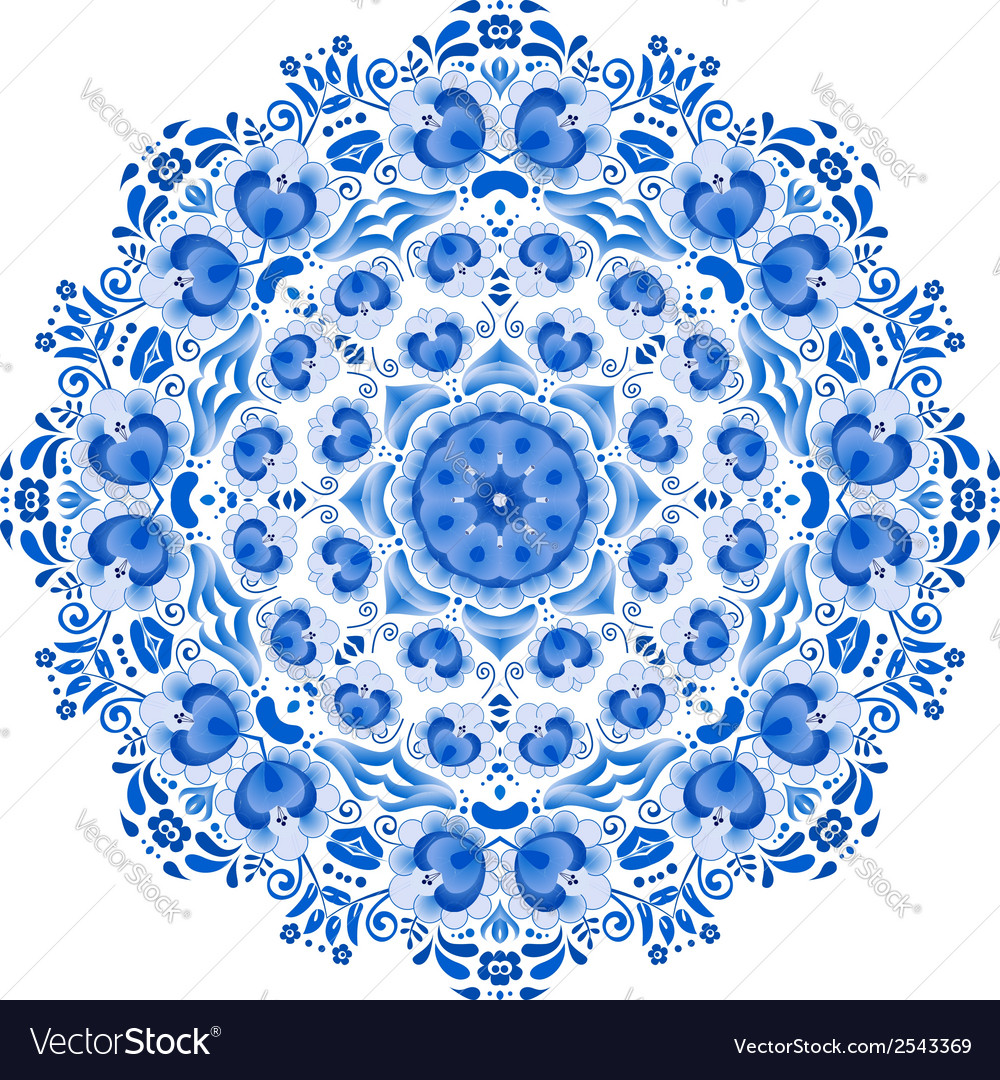 Blue floral ornament circle vector | Price: 1 Credit (USD $1)