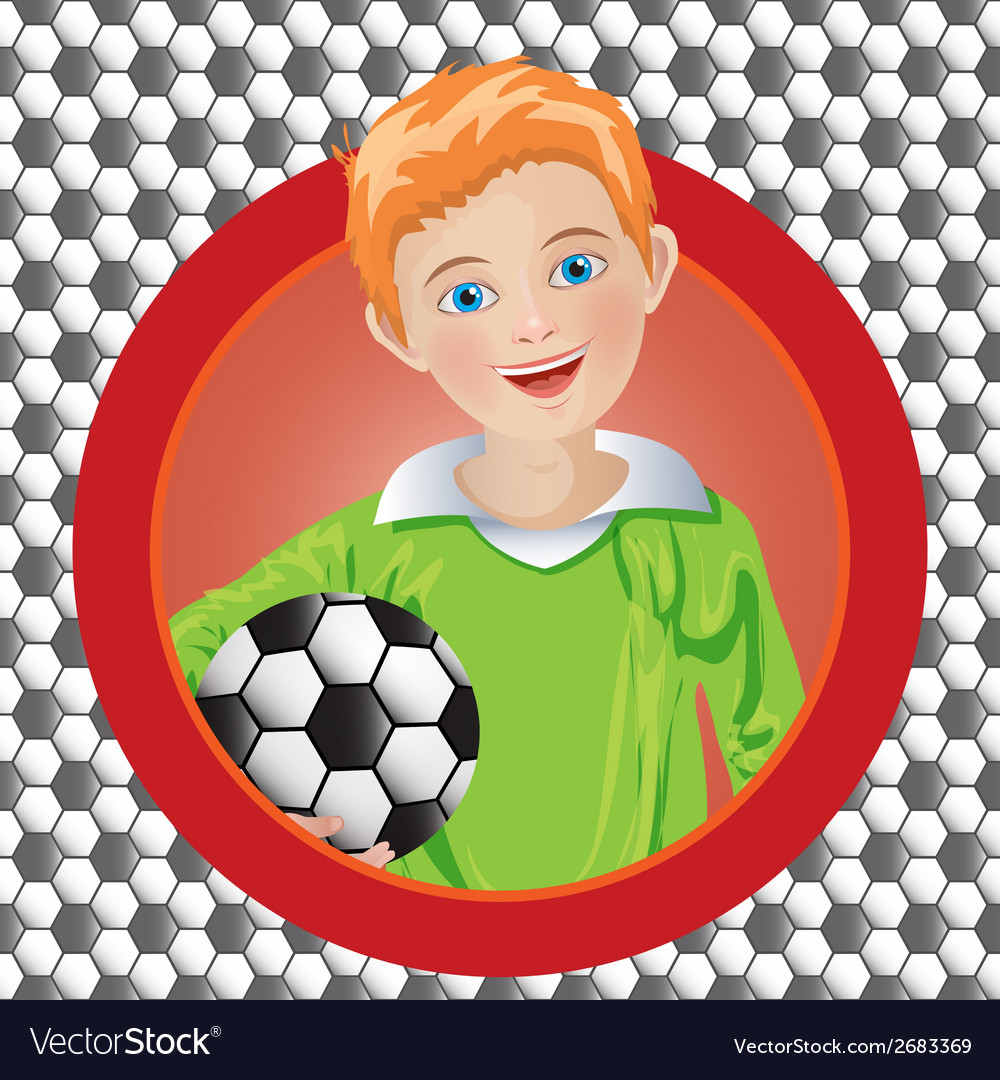 Boy soccer player on the background vector | Price: 1 Credit (USD $1)