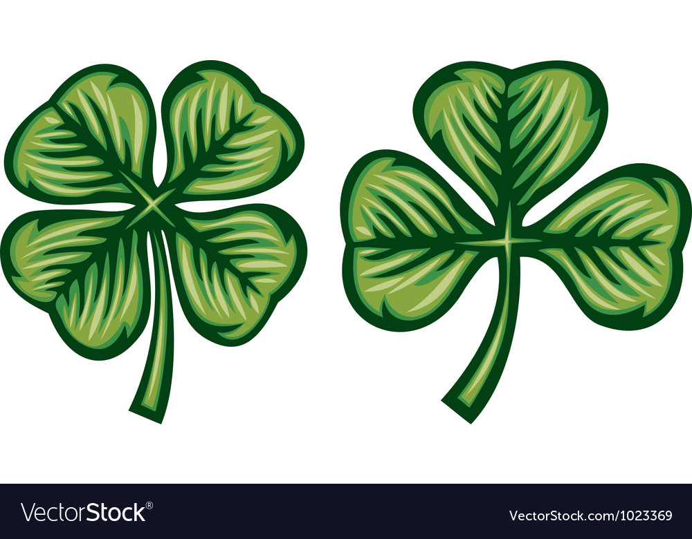 Clover with three and four leafs vector | Price: 1 Credit (USD $1)
