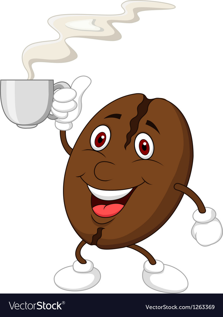 Coffee bean cartoon character vector | Price: 1 Credit (USD $1)