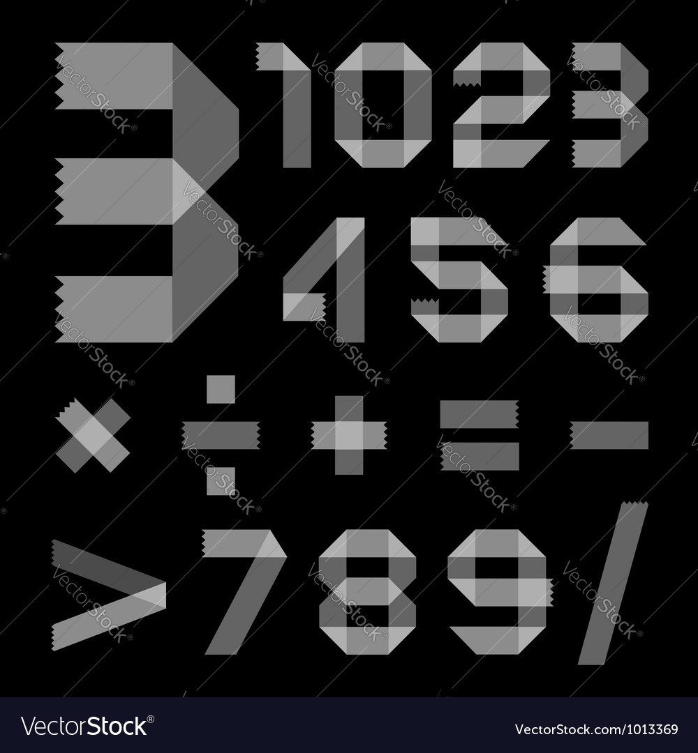 Font from scotch tape - arabic numerals vector | Price: 1 Credit (USD $1)