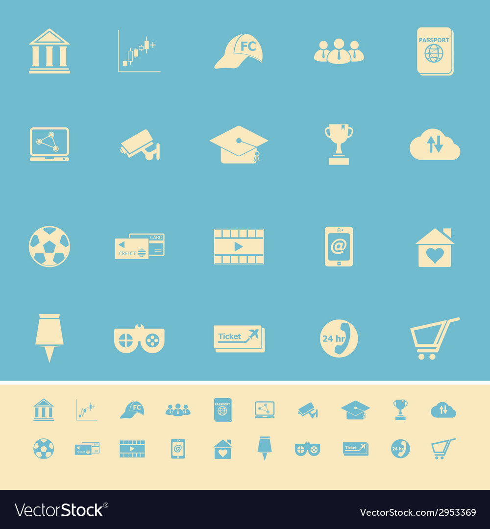 General online color icons on light blue vector | Price: 1 Credit (USD $1)