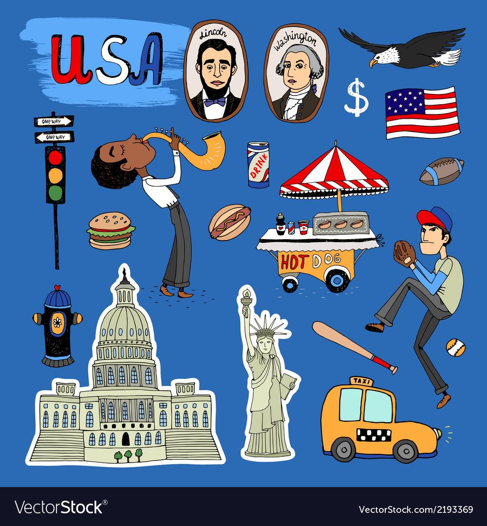 Hand-drawn usa landmarks set vector | Price: 1 Credit (USD $1)