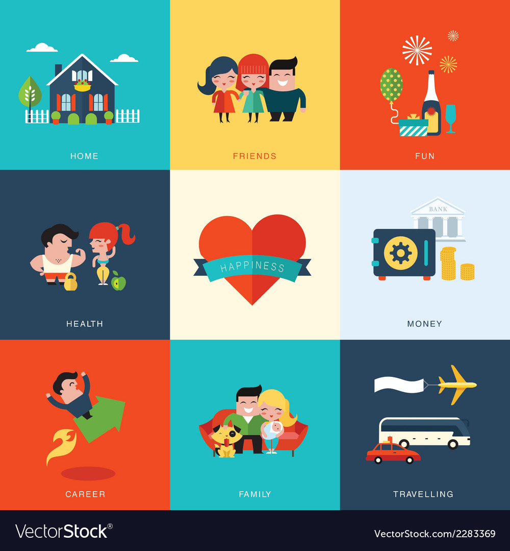 Happiness set vector | Price: 1 Credit (USD $1)