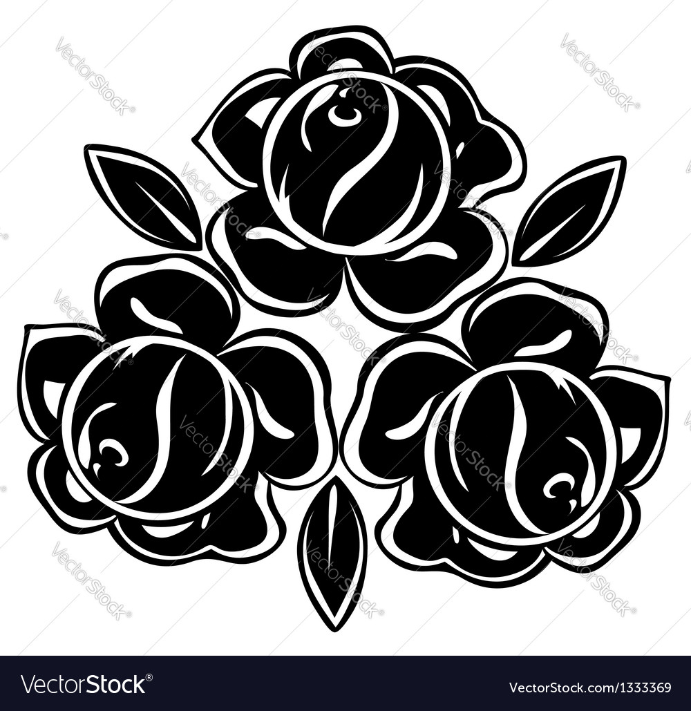 Isolated of black and white roses vector | Price: 1 Credit (USD $1)