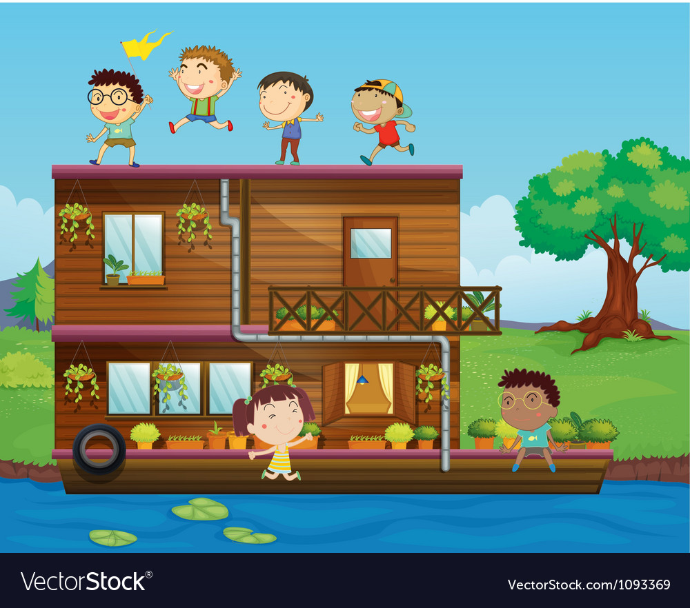 Kids playing near a houseboat vector | Price: 3 Credit (USD $3)