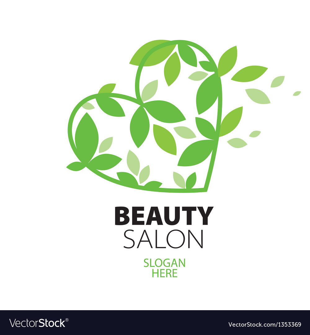 Logo heart of green leaves to the beauty salon vector | Price: 1 Credit (USD $1)