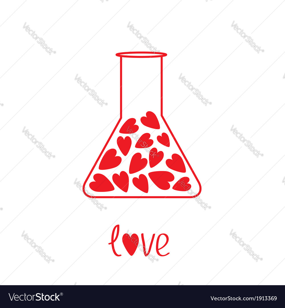 Love laboratory glass with hearts inside card vector | Price: 1 Credit (USD $1)