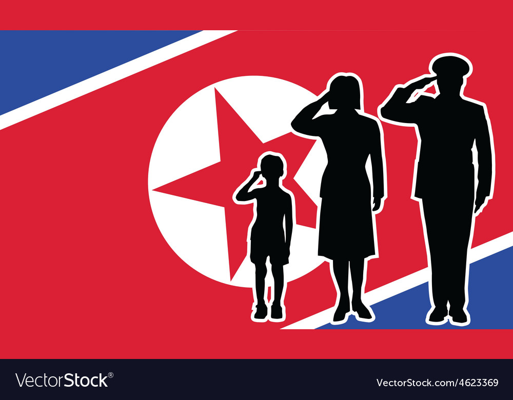 North korea soldier family salute vector | Price: 1 Credit (USD $1)