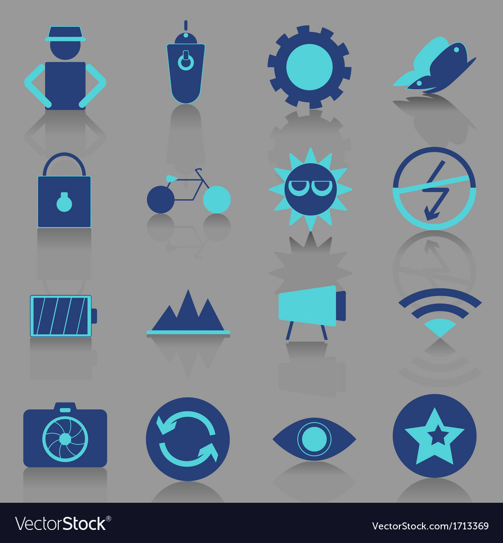 Photography icons with reflect shadow vector | Price: 1 Credit (USD $1)