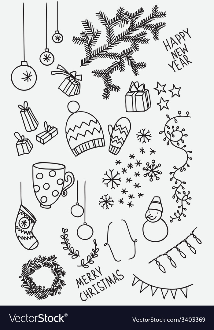 Set of sketchy doodle winter elements vector | Price: 1 Credit (USD $1)