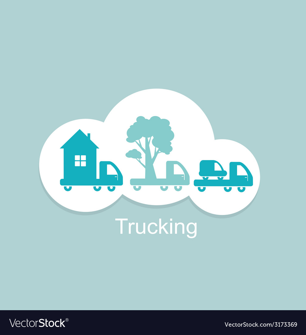 Trucking houses cars trees icon vector | Price: 1 Credit (USD $1)