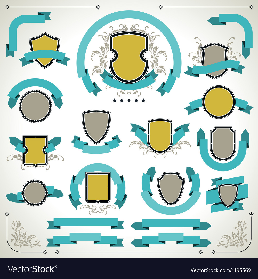 Vintage labels shields and ribbons retro style set vector | Price: 1 Credit (USD $1)
