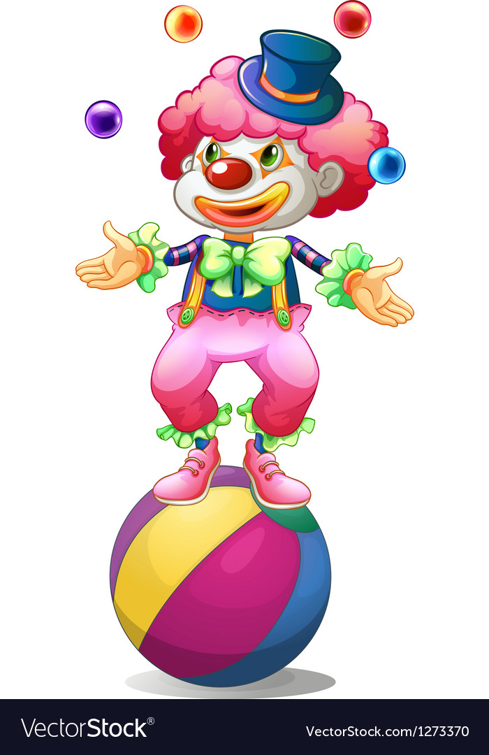 A clown juggling above the ball vector | Price: 1 Credit (USD $1)