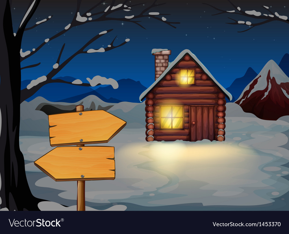 A wooden arrow board near the wooden house vector | Price: 1 Credit (USD $1)