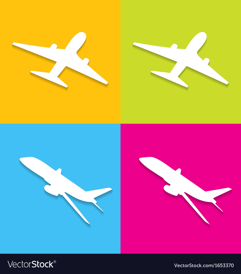 Aircraft symbols isolated on colorful background vector | Price: 1 Credit (USD $1)