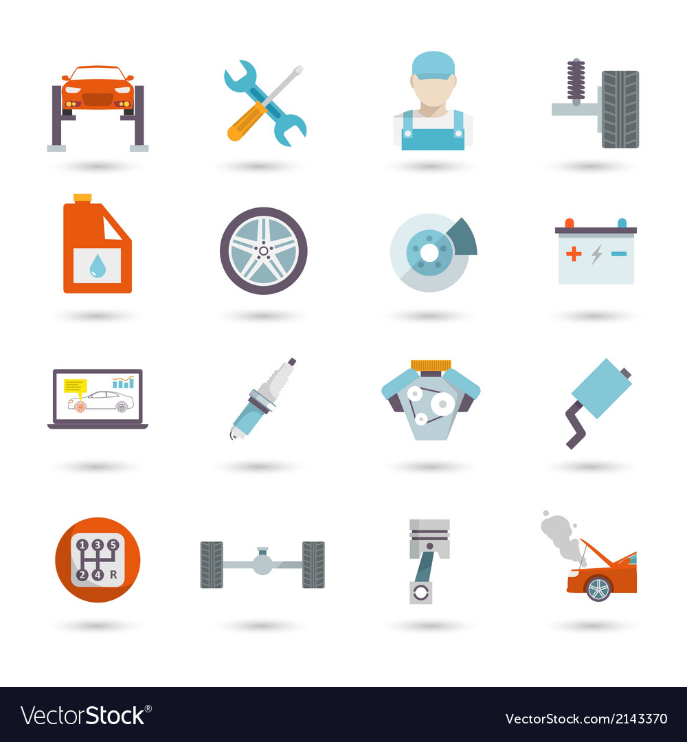 Auto service icons flat vector | Price: 1 Credit (USD $1)