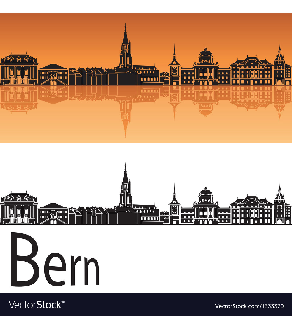 Bern skyline in orange background vector | Price: 1 Credit (USD $1)