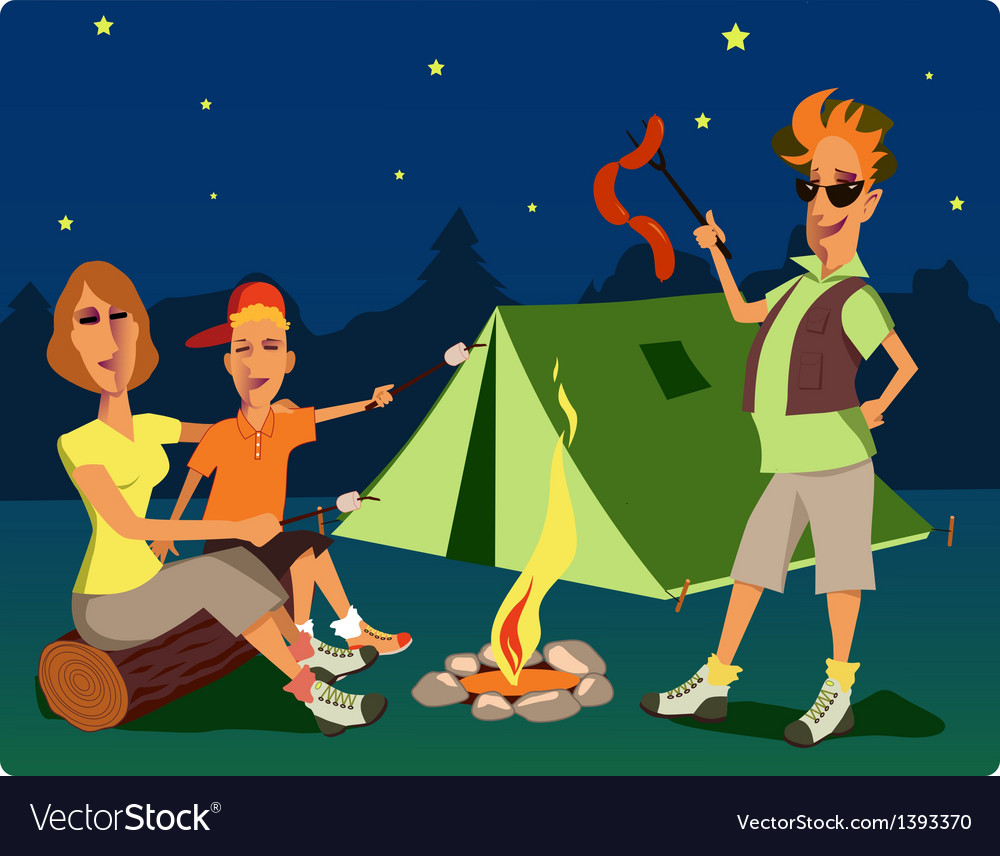 Campers at night vector | Price: 3 Credit (USD $3)