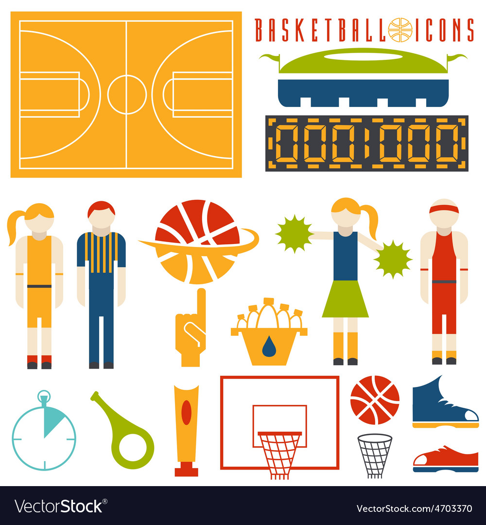 Flat design icons of basketball vector | Price: 1 Credit (USD $1)