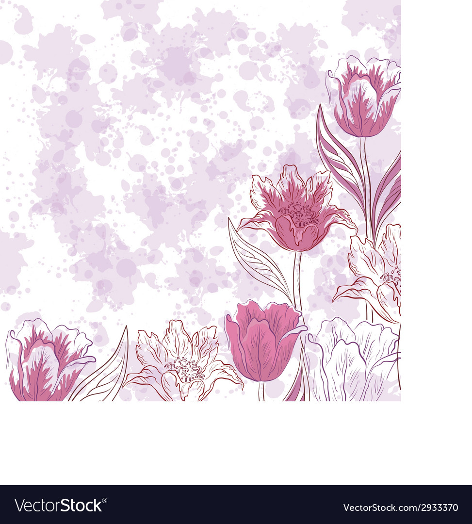 Flowers tulips on abstract background vector | Price: 1 Credit (USD $1)