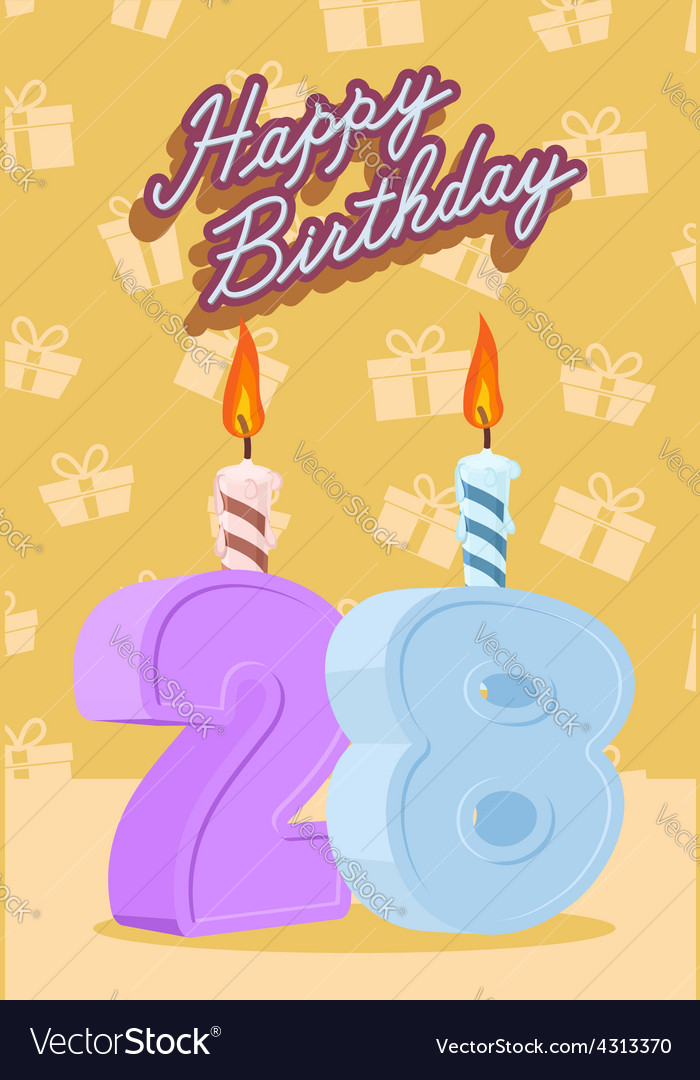 Happy birthday age 28 announcement and celebration vector | Price: 1 Credit (USD $1)