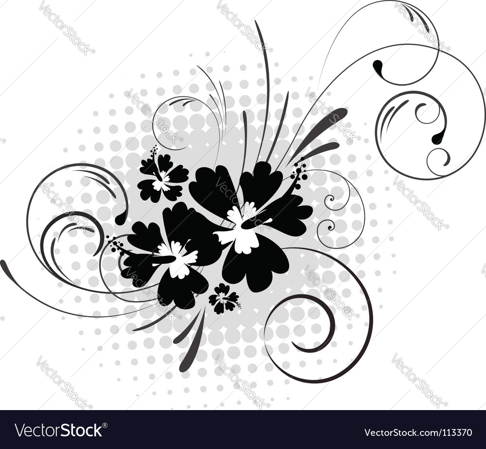 Hibiscus with swirls vector | Price: 1 Credit (USD $1)