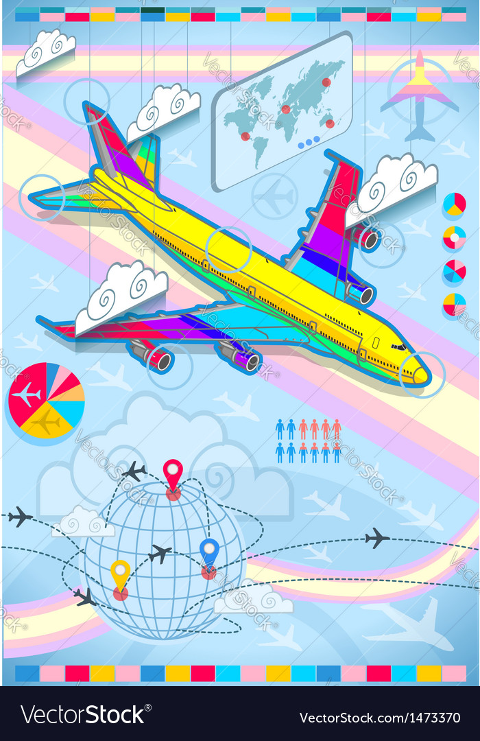 Infographic set elements with airplane in raibow vector | Price: 1 Credit (USD $1)